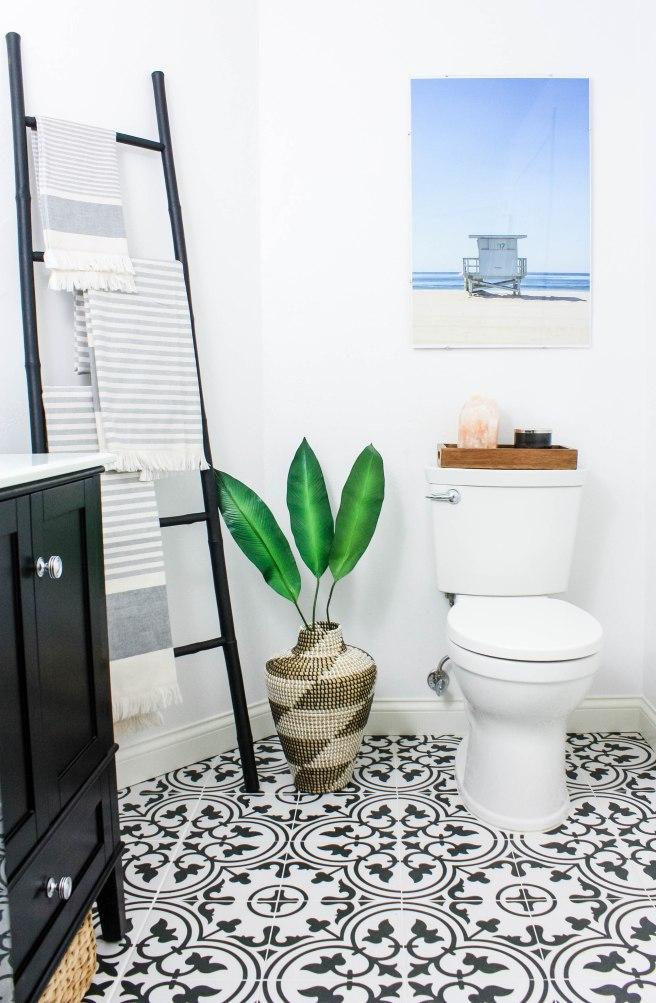 Transitional Bathroom with Beach Print