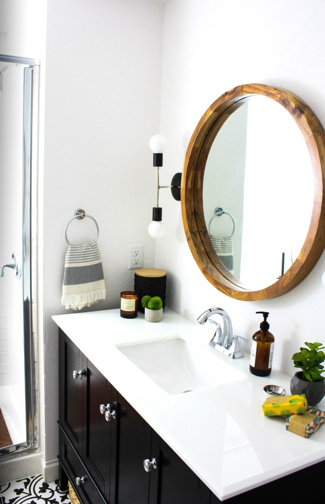 Black Bathroom Sink Cabinet with Chrome Pulls