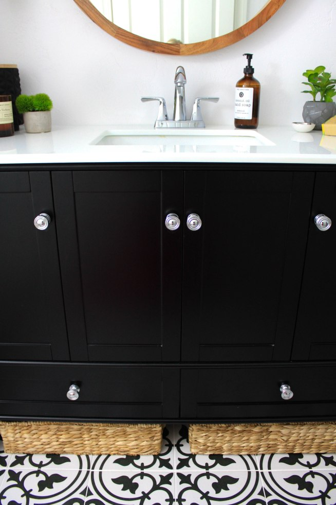 Black and White Transitional Bathroom Design with Teak Wood Accents and Chrome