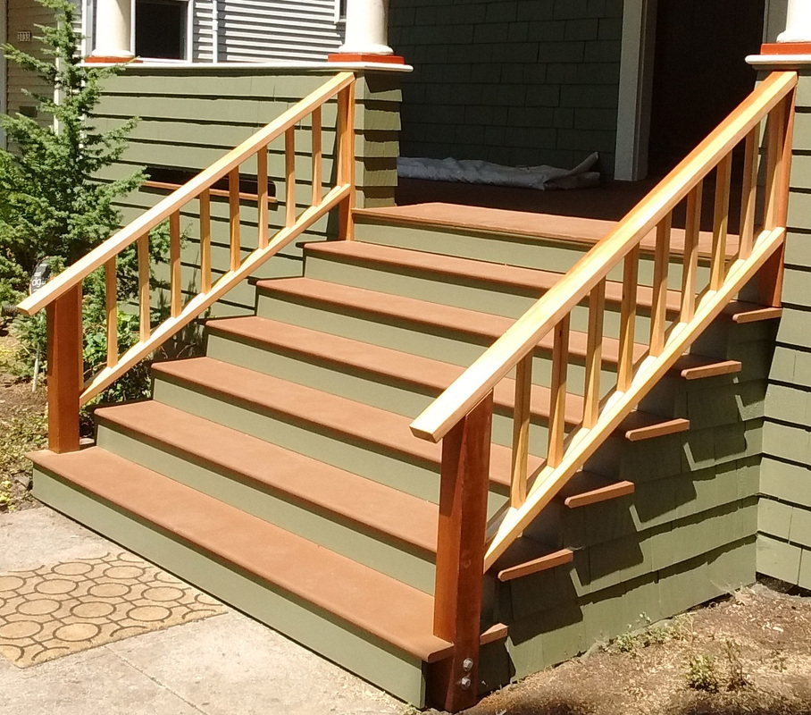 Wood Step And Stair Repair And Rebuild In Portland Or West | Repairing Outdoor Wooden Steps | Staircase | Patio | Concrete Slab | Front Porch | Stringer