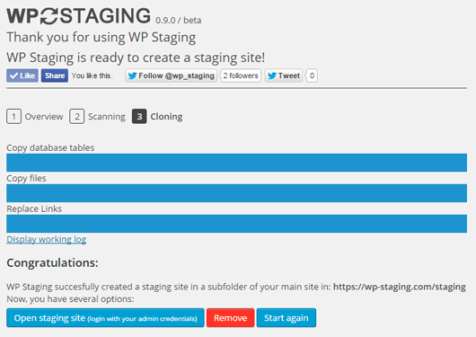 Staging Site with WP Staging