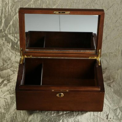 Jewelry box with mirror inset