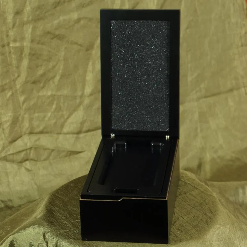 Black wood hidden hinged mobile phone package