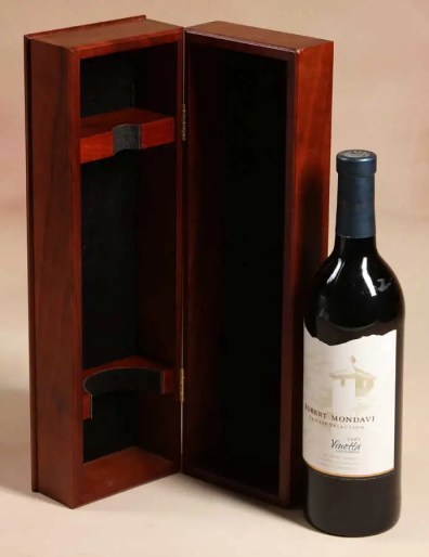 Premium wooden liquor box with wood form for bottle and slide top box