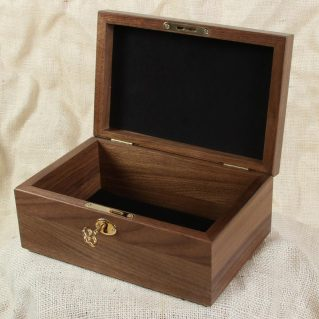 Wood box with lock and black lining