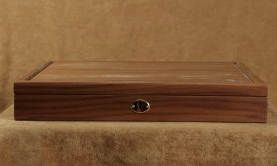 Lined wood box with cover and lock with key
