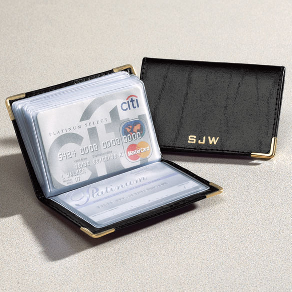 Personalized Leather Credit Card Holder Walter Drake