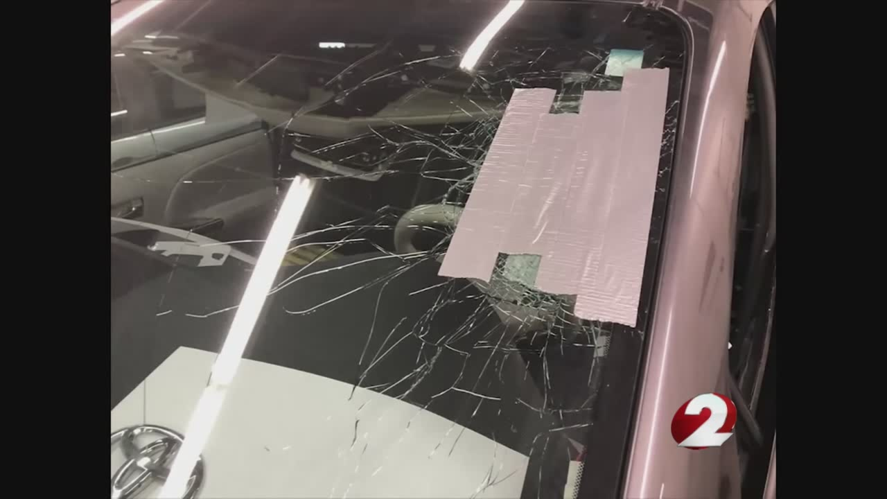 Cars damaged by objects thrown from I-75 overpass