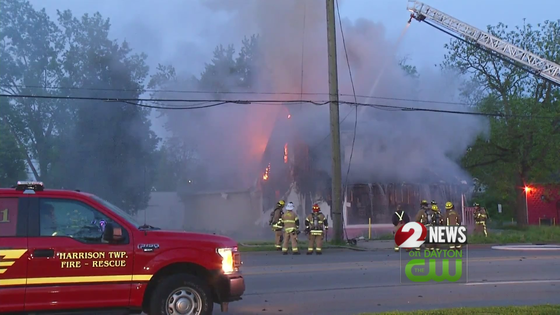 Fire crews battle blaze in Harrison Township