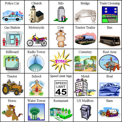 This is a graphic of Nifty Traveling Bingo Cards