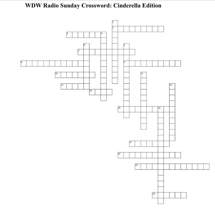 Wdw Radio Sunday Crossword Puzzle Cinderella Edition Wdw Radiowdw