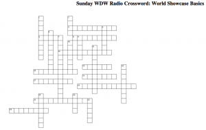 Sunday WDW Radio Crossword Puzzle: World Showcase Basics