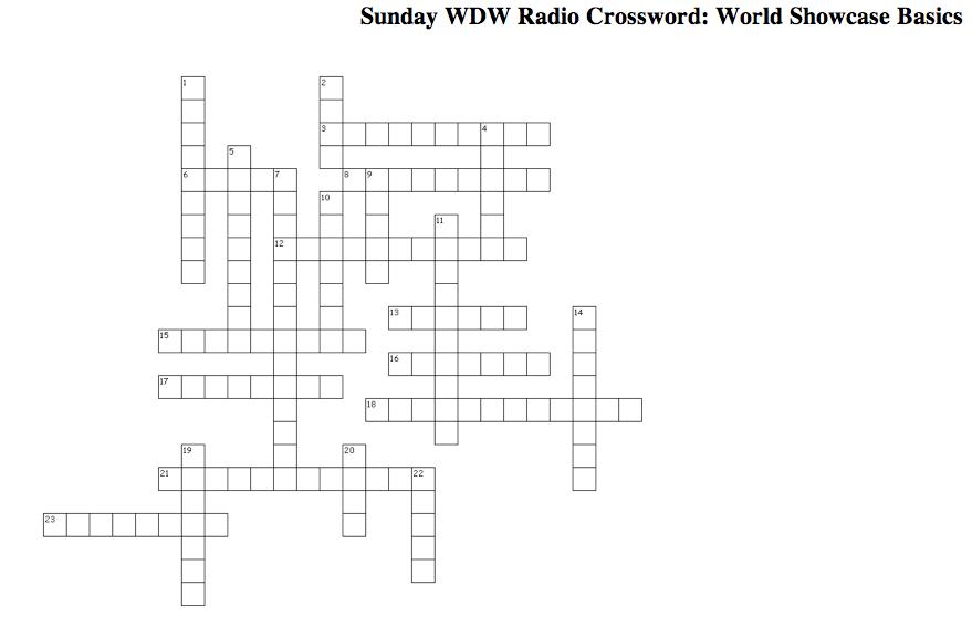 Sunday WDW Radio Crossword Puzzle: World Showcase Basics