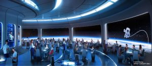 Unnamed space restaurant in Epcot concept art, copyright Disney
