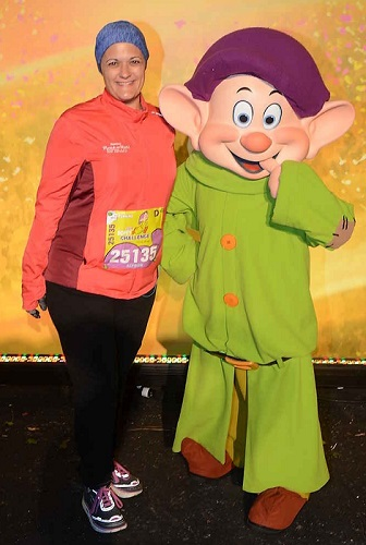 Meeting Dopey during while completing the Dopey Challenge