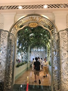 "alt=""Entrance to the Enchanted Garden Restaurant at Hong Kong Disneyland."""