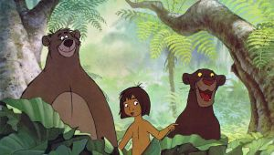 """alt=""""screen image of Baloo, Mowgli, and Bagheera from the film, The Jungle Book"""""""