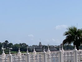 """alt=""""View of the Magic Kingdom Train Station from the running trail."""""""