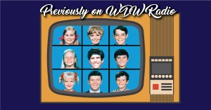 Previously on graphic featuring Brady Bunch title screen, with Lou photoshopped over Alice