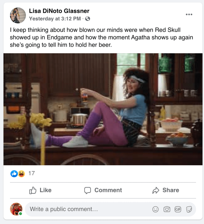 Screenshot of FB Post from Spoiler Support Group Facebook Group