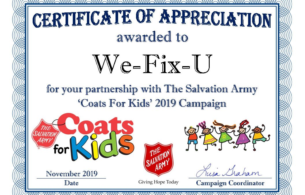 We-Fix-U Participates in the Coats For Kids 2019 Campaign