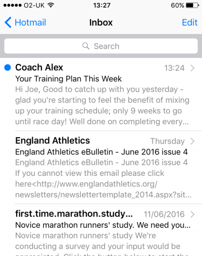 online running coach email inbox