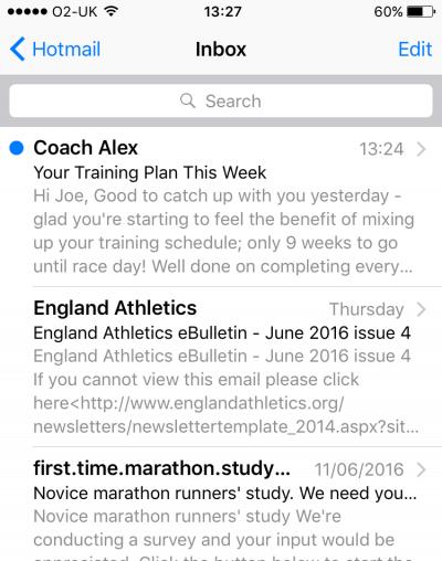online running coach email inbox