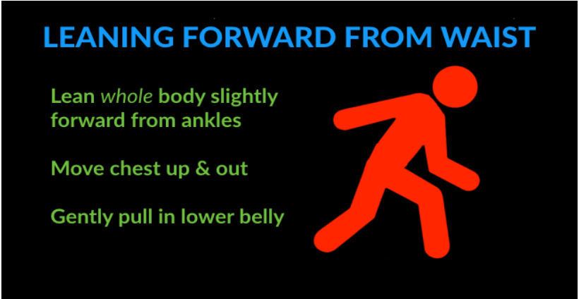 running technique mistakes - leaning forward from the waist