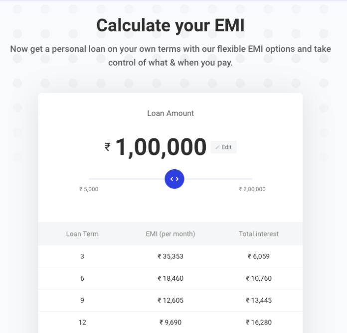 emi calculator - paysense