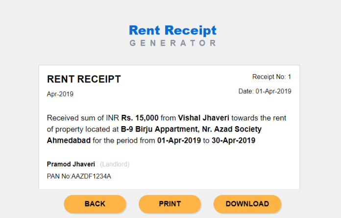 Economic times rent receipt generator