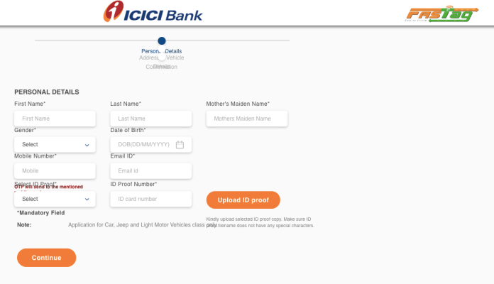 ICICI FASTag - Online Application
