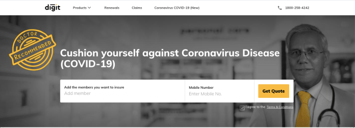 CoronaVirus Insurance by Digit