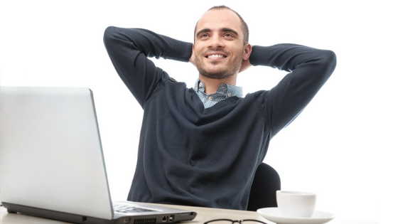 man relaxed at work