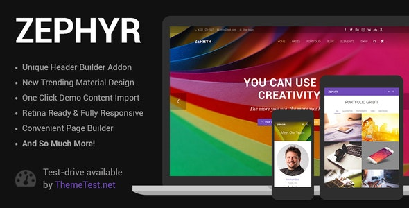 Zephyr 7.15 Nulled – Material Design WordPress Theme