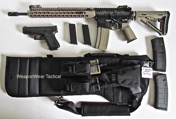 AR 15 Rifle Tactical Case Sling Pistol Mag Pouch included