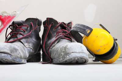 construction hearing protection and boots