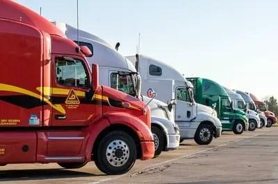 truck drivers stopped for break