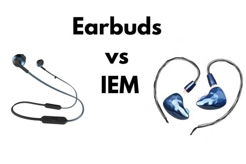 earbuds left and IEM right