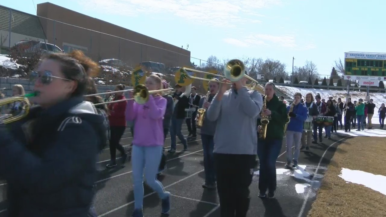 Students at Preble High School practice for their trip to New York City