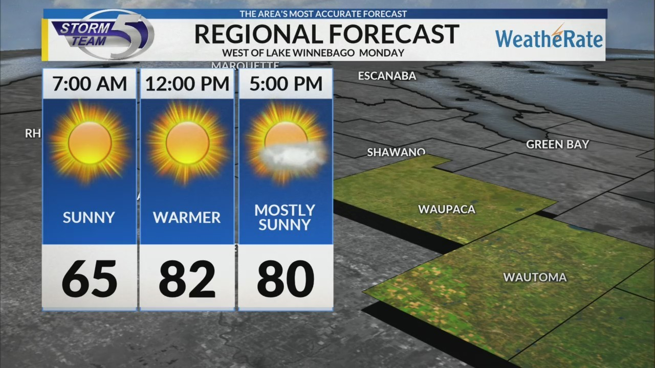 Regional Forecast: Areas West of Lake Winnebago 7/23