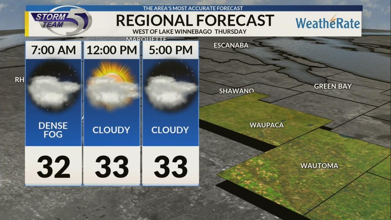 Regional Forecast: West of Lake Winnebago 12-13
