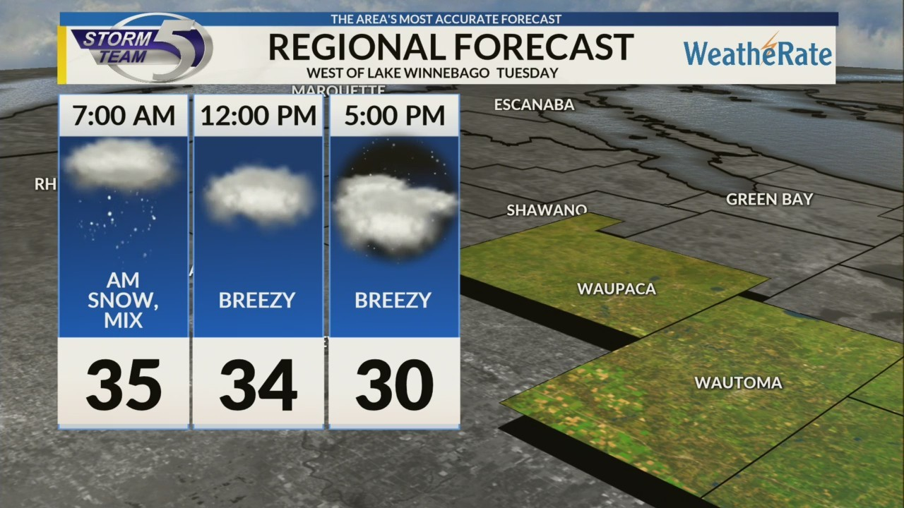 Regional Forecast: Areas West of Lake Winnebago 1/8
