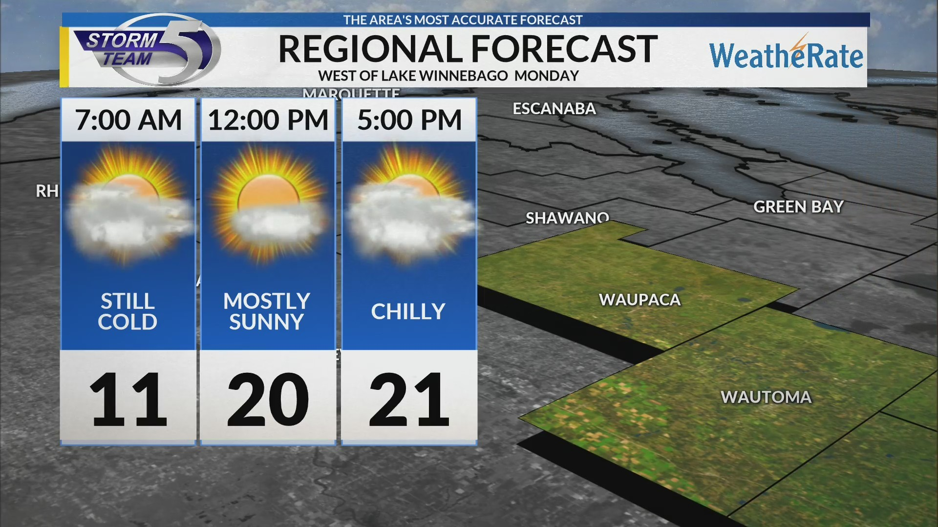 Regional Forecast: West of Lake Winnebago 2-18