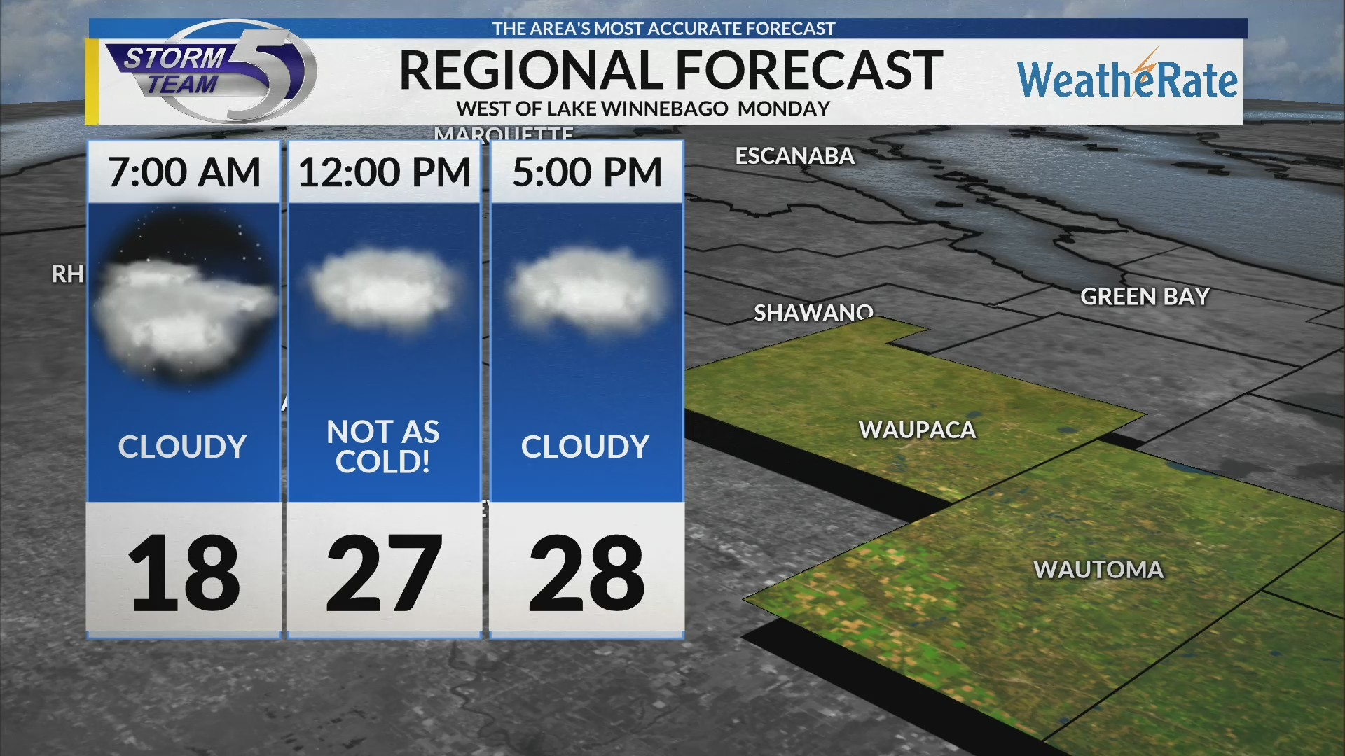 Regional Forecast: West of Lake Winnebago 2-11