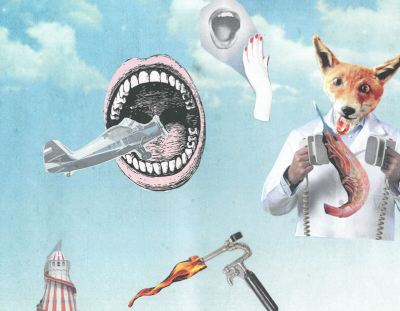 Collage of weird things on a background of clouds