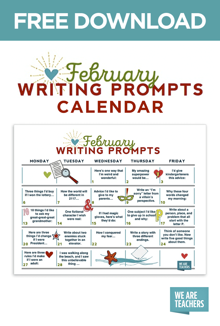 writing prompts calendar weareteachers the full sized writing prompts calendar here