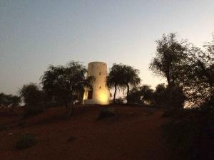 Watchtower at sunset in resort