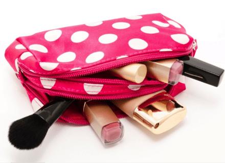 pink and white make up bag