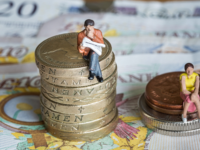 Man sitting on big pile of coins next to woman sitting on smaller pile of coins to demonstrate gender gap