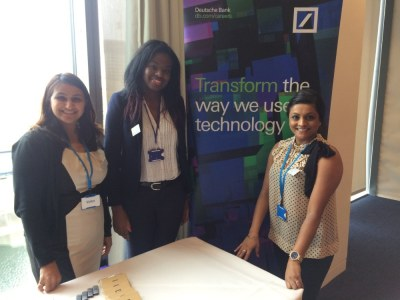 Deutsche Bank welcoming delegates to their standDeutsche Bank welcoming delegates to their stand